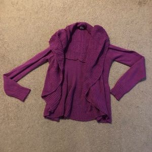 Purple long sleeved cardigan